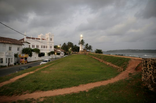 In this Friday, May 10, 2019, photo, the 17th century built Dutch fort, which was a popular tourist site, stands empty in Galle, Sri Lanka.