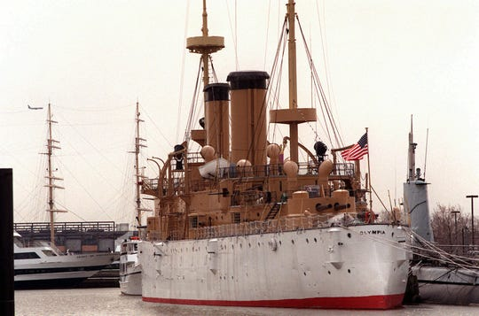 The Olympia, one of the oldest steel ships in the world and the only ship left from the  Spanish-American War,  is shown moored at the Independence Seaport Museum in Philadelphia.