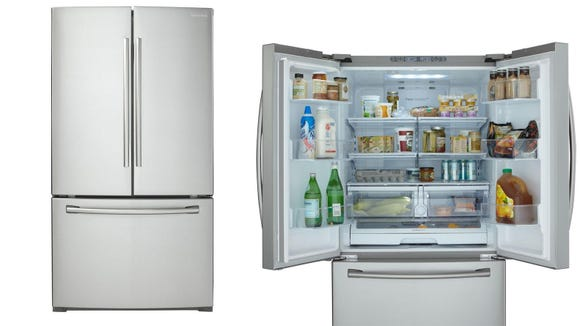 Add some swank to your kitchen with this French-door fridge.