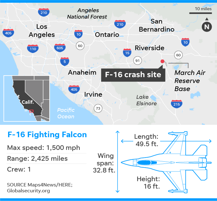 F-16 fighter jet crashes near March Air Reserve Base in California
