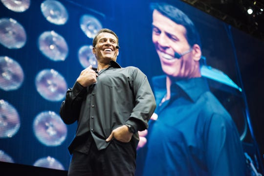 """Tony Robbins speaks on stage during """"Tony Robbins LIVE: Unleash the Power Within"""" in July 2017 in Newark, New Jersey."""