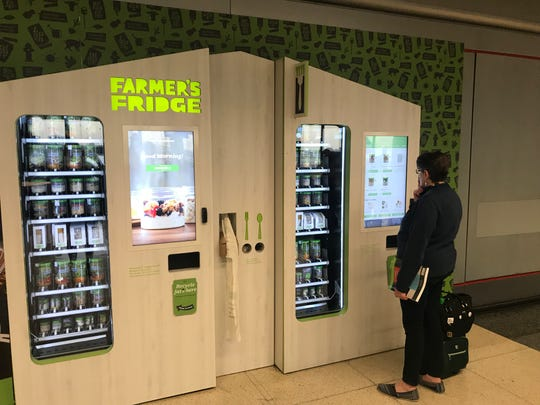 Farmer's Fridge sells salads in a jar and other healthy fare from vending machines at O'Hare Internatioanl Airport and Indianapolis International Airport.