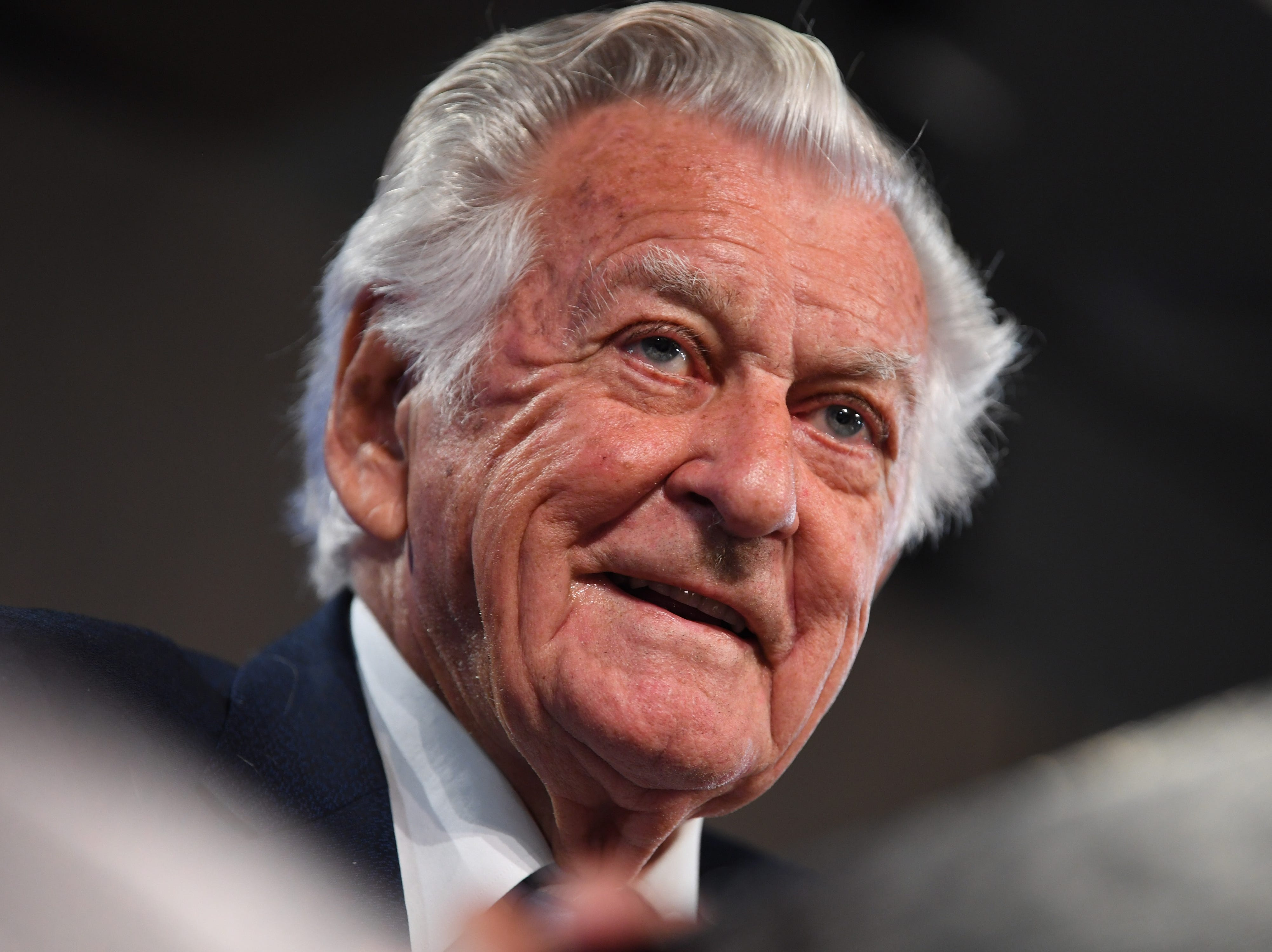 Former Australian Prime Minister Bob Hawke speaks at the National Press Club during the book launch of Gareth Evans' memoir 'Incorrigible Optimist' in Canberra, Australian Capital Territory, Australia on Oct. 4, 2017 Former prime minister and Australian Labor Party leader Bob Hawke has died on May 16, 2019 at the age of 89.