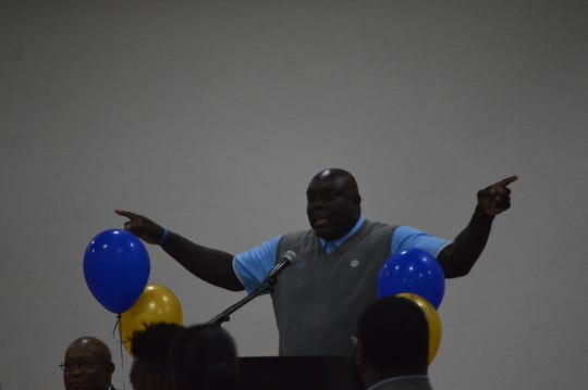 "Southern University football coach Dawson Odums speaks to school alumni Thursday for the Rapides Chapter of Southern University Alumni Federation's ""Meet The Jaguars"" event."