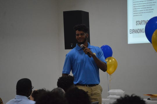"Former Tioga and current Southern University lineman Jalen Ivy speaks to school alumni Thursday for the Rapides Chapter of Southern University Alumni Federation's ""Meet The Jaguars"" event."