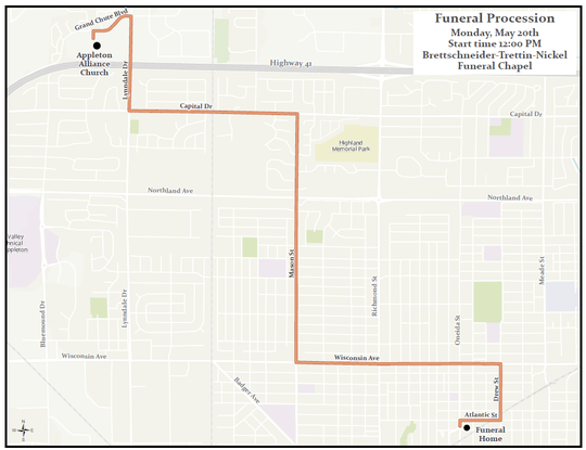 The route of the Monday funeral procession for Appleton firefighter Mitchell F. Lundgaard is seen. Lundgaard was fatally shot Wednesday while responding to a medical call at the downtown Valley Transit Center.