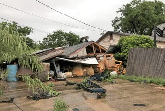 Straight-line winds caused severe damage in parts of Abilene, Texas on Saturday, May 18, 2019.