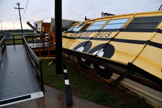A portable building at Reagan Elementary School is collapsed in after Saturday's early-morning storm May 18. Reagan was one of fourth Abilene ISD schools to receive an F rating from the Texas Education Agency.