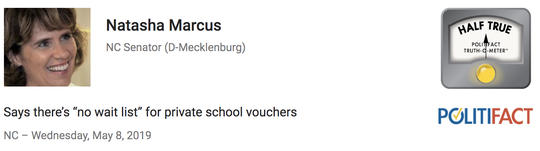 North Carolina Fact-Checking Project ruling on a comment on private school vouchers.