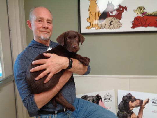 Dan Rude holds Hershey, a brown Labrador puppy who's up for adoption at the Broome County Dog Shelter. Rude is a volunteer photographer for the shelter.