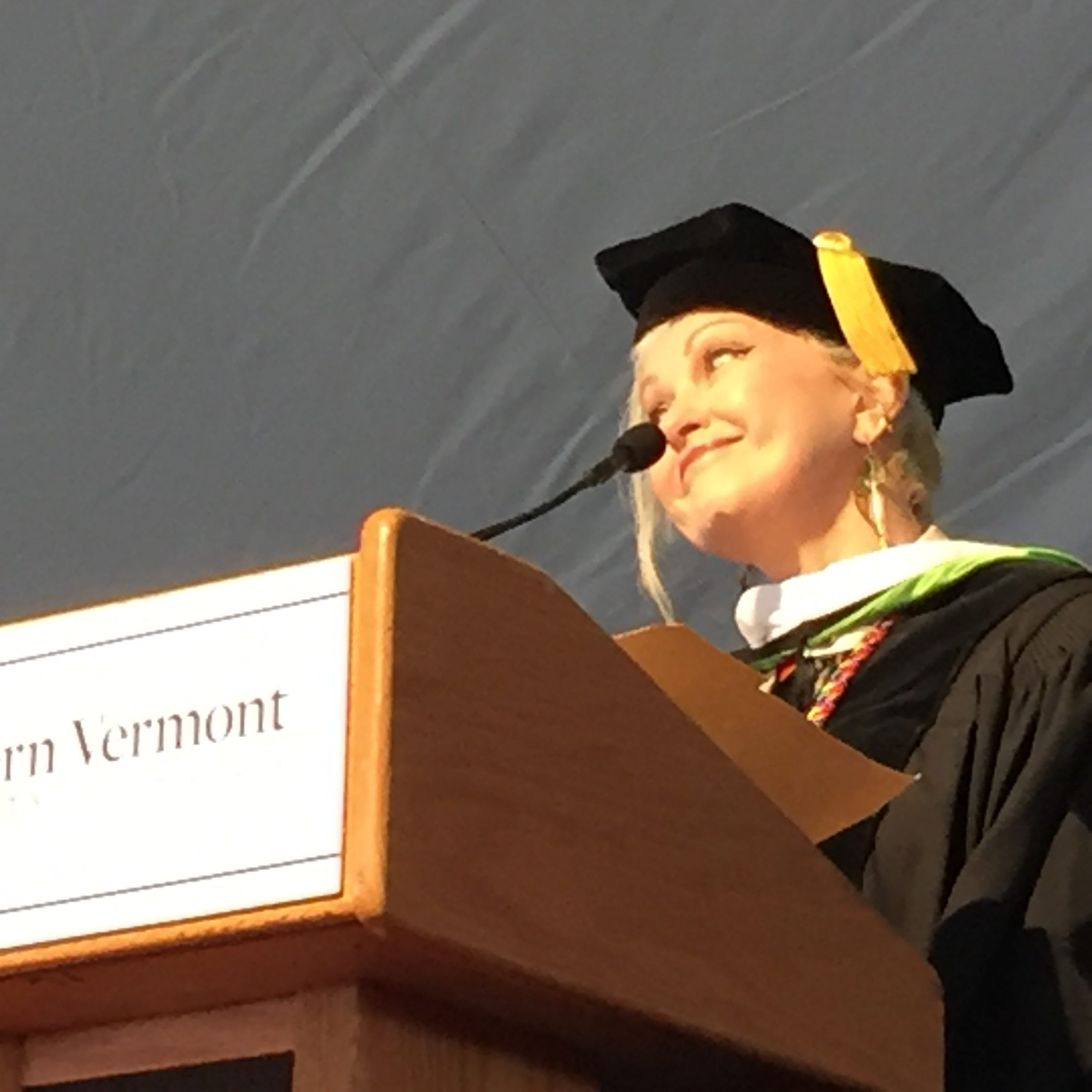 Cyndi Lauper went to college in Johnson. Saturday, she gave the commencement address