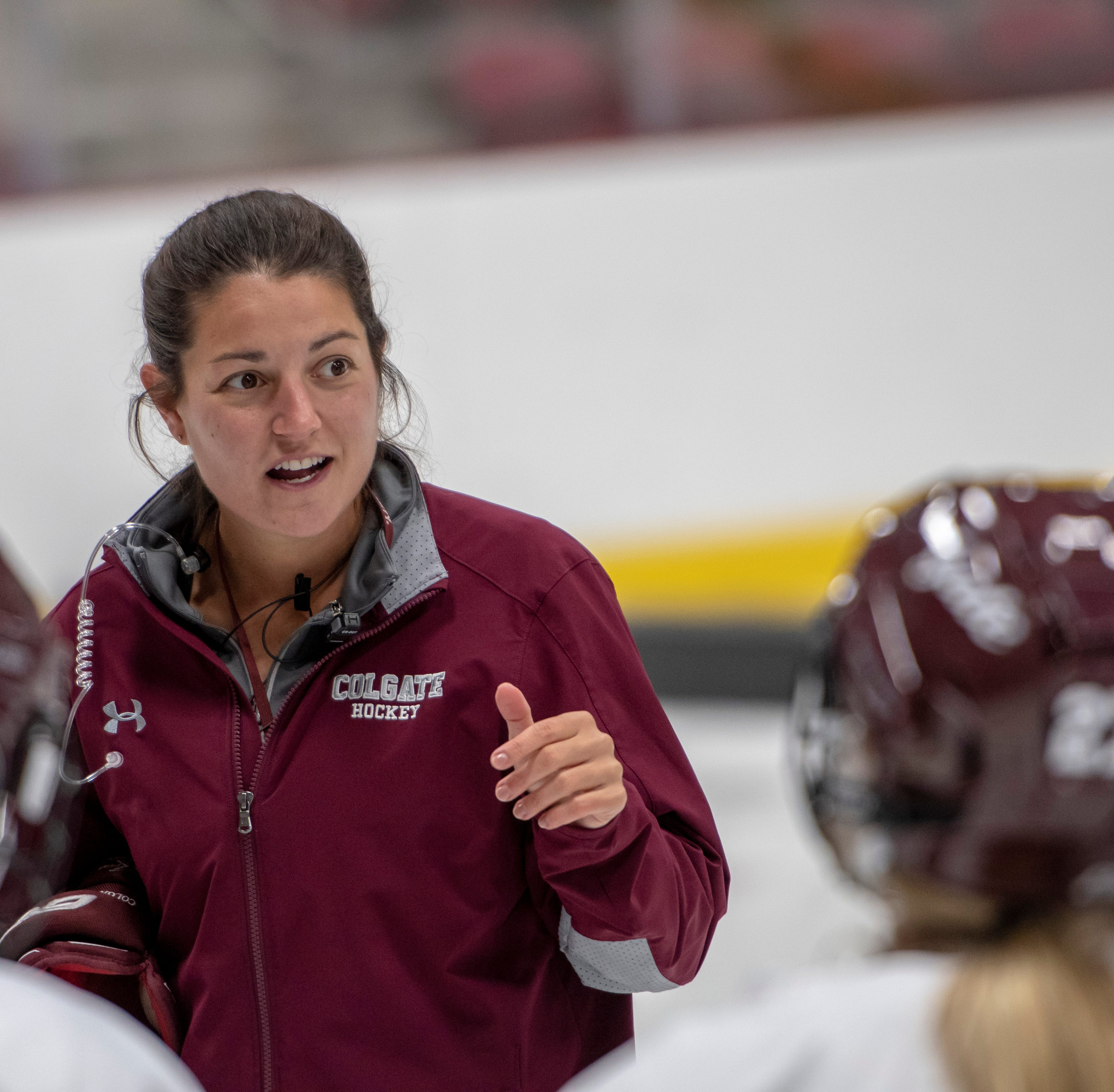 Former Norwich player Sophie Leclerc directs Colgate players during a practice.