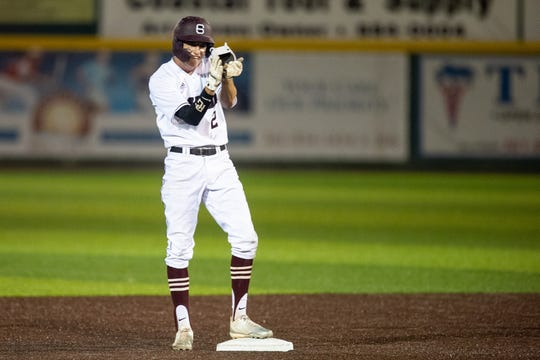 Sinton's Brett Brown reacts after a hit against Robstown during Game 1 of a Class 4A regional quarterfinal series at Cabaniss Baseball Field in Corpus Christi, Texas on May 17, 2019.
