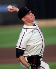 Cincinnati starting pitcher Evan Shawver  throws the during the first inning of their baseball game against Xavier, Friday, May 17, 2019.