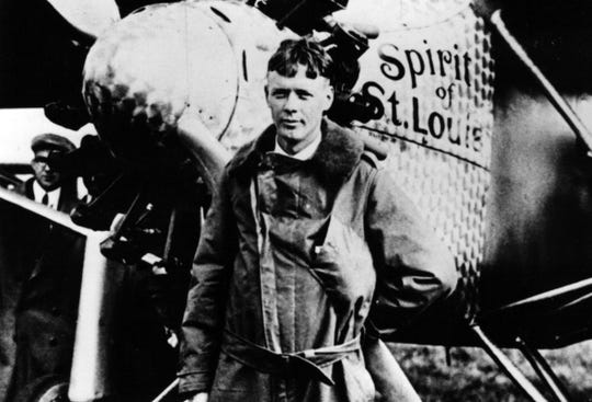 Charles Lindbergh and his plane the Spirit of St. Louis.