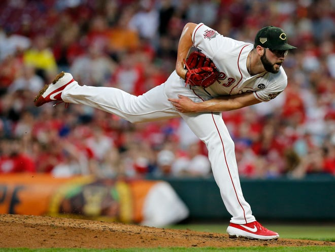 Cincinnati Reds relief pitcher Cody Reed delivers a pitch in the sixth inning of their MLB National League game against the Los Angeles Dodgers at Great American Ball Park in Cincinnati on Friday, May 17, 2019. The Reds were beaten by the Dodgers, 6-0.