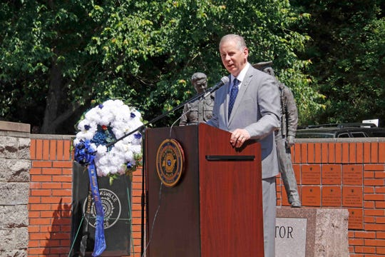 Clarksville Mayor Joe Pitts speaks at the Police Week Memorial law enforcement ceremony on Friday, May 17, 2019.