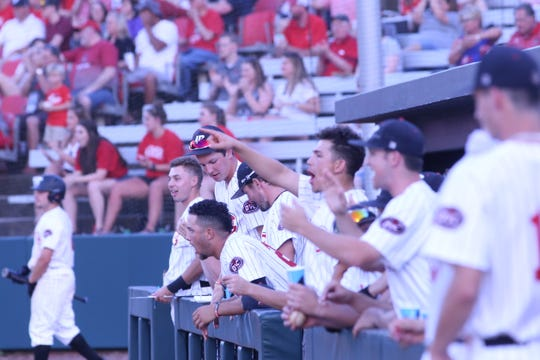 Austin Peay players celebrate in the dugout after the Govs scored a run off a bases-loaded walk late in Friday's game.
