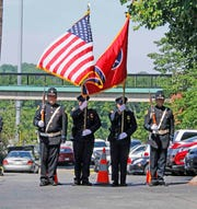 The color guard prepares to march at the Clarksville Police Week Memorial law enforcement ceremony on Friday, May 17, 2019.
