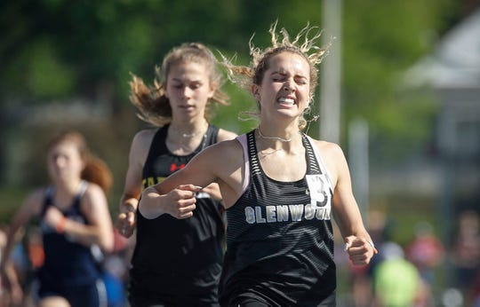 Glenwood senior Janette Schraft reacts after winning the Class 3A 800-meter run during the 2019 Iowa high school track and field state championships at Drake Stadium in Des Moines on Saturday, May 18, 2019.