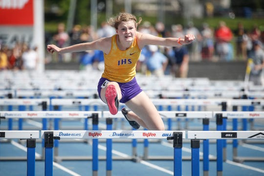 Indianola sophomore Rayna Sickels anchors her shuttle hurdle relay team in Class 4A during the 2019 Iowa high school track and field state championships at Drake Stadium in Des Moines on Saturday, May 18, 2019.