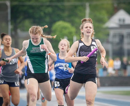 Norwalk junior Abbie Davitt anchored her sprint medley team to a heat win in Class 3A during the 2019 Iowa high school track and field state championships at Drake Stadium in Des Moines on Saturday, May 18, 2019.