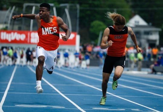 Bernard Bell Jr. of Ames and Ardell Inlay of Sioux City east race in the boys 4A 100 meter dash at the 2019 High School State Track Meet on Saturday, May 18, 2019, in Des Moines. Bell won the race with a time of 10.92.