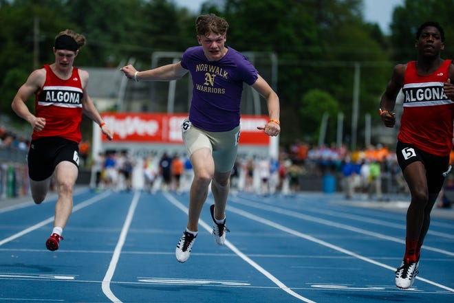 Chase McKinney of Norwalk races in the boys 3A 100 meter dash at the 2019 High School State Track Meet on Saturday, May 18, 2019, in Des Moines.