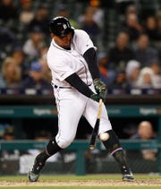 Miguel Cabrera connects for a double in the ninth inning Friday.