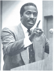 Roy Roberts speaking to the University of Michigan business school on Martin Luther King Jr. Day in the 1980s.