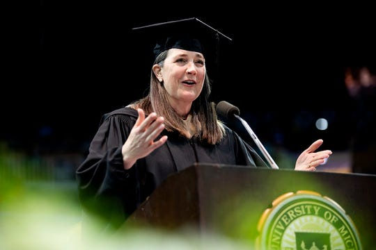 Patricia K. Poppe, President and Chief Executive Officer, CMS Energy Corporation and Consumers Energy Company, speaks at the Spring 2019 Commencement at Crisler Center in Ann Arbor on May 4, 2019.