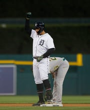 Miguel Cabrera signals to the dugout after doubling in the fifth inning.