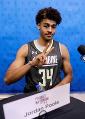Jordan Poole from Michigan, at the NBA draft combine in Chicago, Thursday, May 16, 2019.