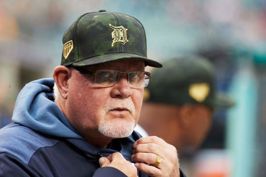 Detroit Tigers manager Ron Gardenhire in the dugout prior to the game against the Oakland Athletics at Comerica Park, Friday, May 17, 2019.