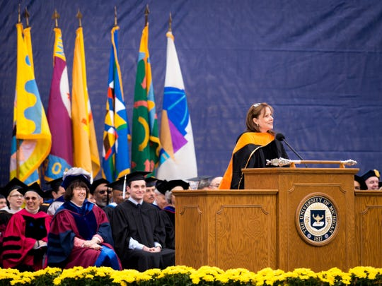 General Motors CEO Mary Barra delivers the University of Michigan spring commencement address Saturday, May 3, 2014, in Ann Arbor.