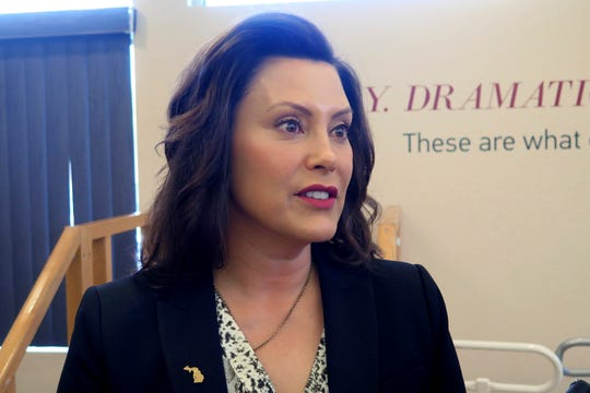 Michigan Gov. Gretchen Whitmer speaks after touring the Hope Network Neuro Rehabilitation campus Thursday, May 16, 2019, in East Lansing, Mich.