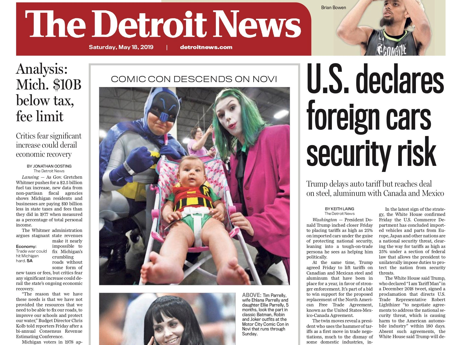 The front page of the Detroit News on May 18, 2019