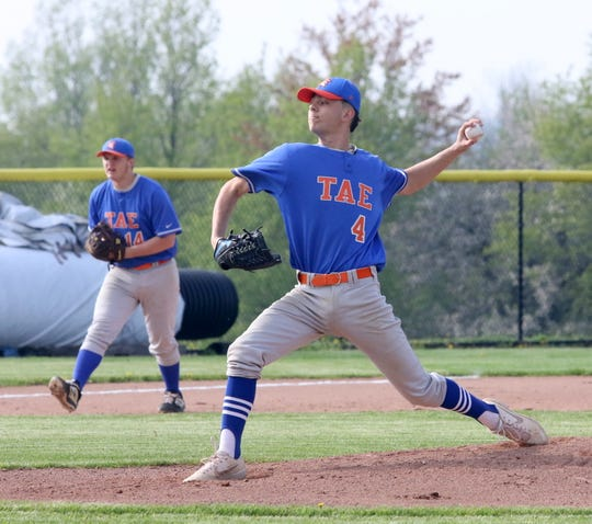 Xander Burch pitches for Edison against Waverly in the IAC baseball championship game May 17, 2019 at Tompkins Cortland Community College.