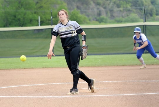 Laura Bennett pitches for Corning against Horseheads as Tess Cites leads from second base in a STAC West softball tiebreaker May 18, 2019 at Corning-Painted Post High School.