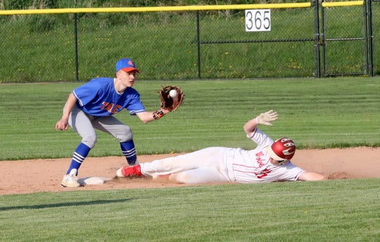 Montana Davis of Waverly steals second base against Thomas A. Edison as Logan Peters waits for the throw in the IAC baseball championship game May 17, 2019 at Tompkins Cortland Community College.
