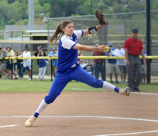 Maddie Rogers pitches for Horseheads against Corning in a STAC West softball tiebreaker May 18, 2019 at Corning-Painted Post High School.