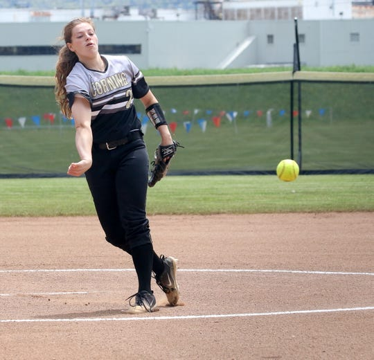 Laura Bennett pitches for Corning against Horseheads in a STAC West softball tiebreaker May 18, 2019 at Corning-Painted Post High School.