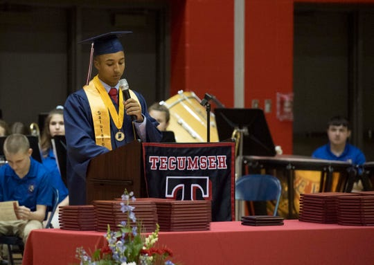 Steven Molinet delivers the salutatorian address during the Tecumseh High School Class of 2019 Commencement ceremony Friday, May 17, 2019.