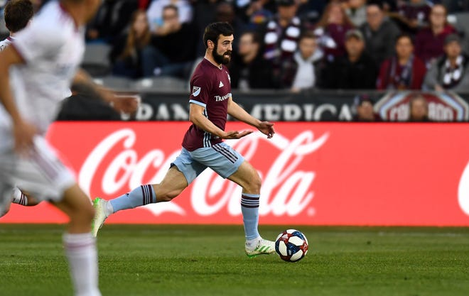 Midfielder Jack Price, shown during a May 11 game against Real Salt Lake, and the Colorado Rapids will play a road game at 6 p.m. Sunday at the Los Angeles Galaxy.