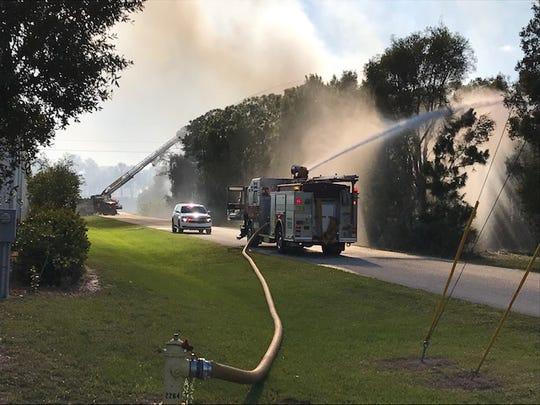 Fire crews battled a five-acre fire in Estero Saturday.