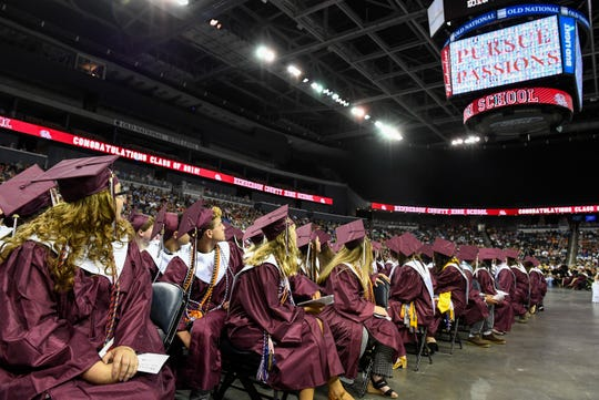 Graduates watch a video at the Henderson County High School 2019 Commencement Ceremony held at the Evansville Ford Center Friday, May 17, 2019.