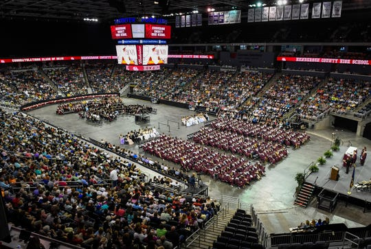 An overview of the Henderson County High School 2019 Commencement Ceremony held at the Evansville Ford Center Friday.