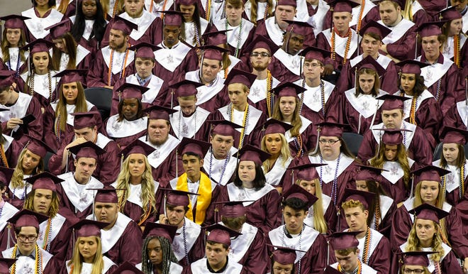 Graduates during the Henderson County High School 2019 Commencement Ceremony held at the Evansville Ford Center Friday, May 17, 2019.