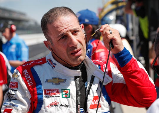 Tony Kanaan (14) of A.J. Foyt Enterprises following his qualifying run for the Indianapolis 500 at the Indianapolis Motor Speedway on Saturday, May 18, 2019.