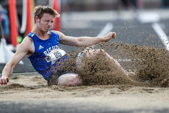 Bishop Chatard junior Cash Churchward competes in long jump during IHSAA boys track and field sectionals at North Central High School in Indianapolis on Friday, May 17, 2019.